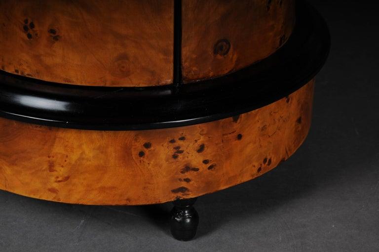 Tonneau, Bar Cabinet, Side Table in Biedermeier, Maple Root For Sale 3