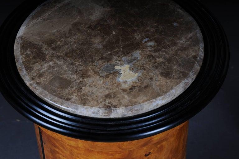Tonneau, Bar Cabinet, Side Table in Biedermeier, Maple Root For Sale 4
