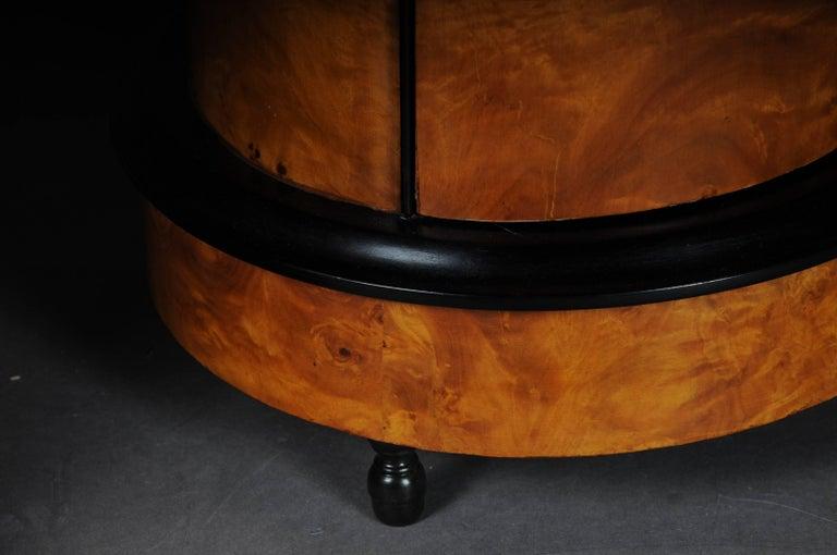 20th Century Tonneau, Bar Cabinet, Side Table in Biedermeier Maple Root For Sale