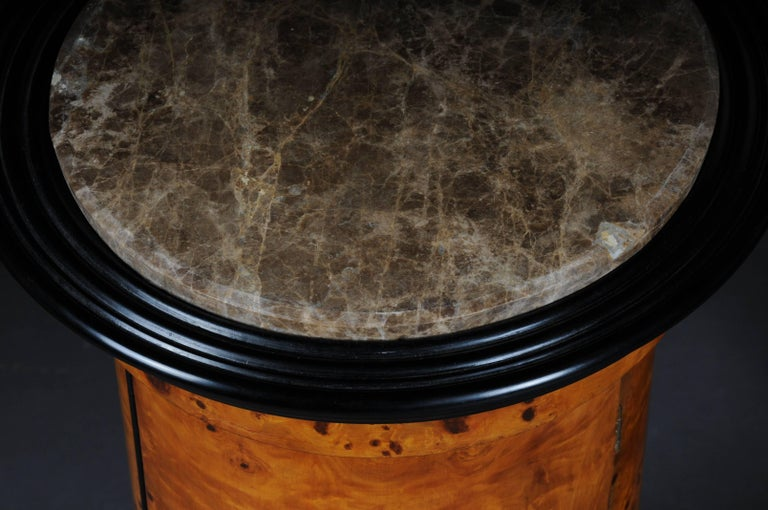 Tonneau, Bar Cabinet, Side Table in Biedermeier Maple Root For Sale 3