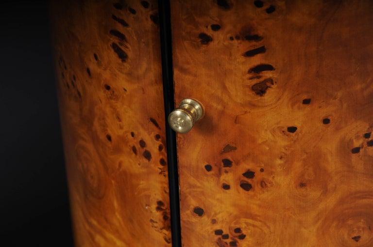 Wood Tonneau, Bar Cabinet, Side Table in Biedermeier Maple Root For Sale