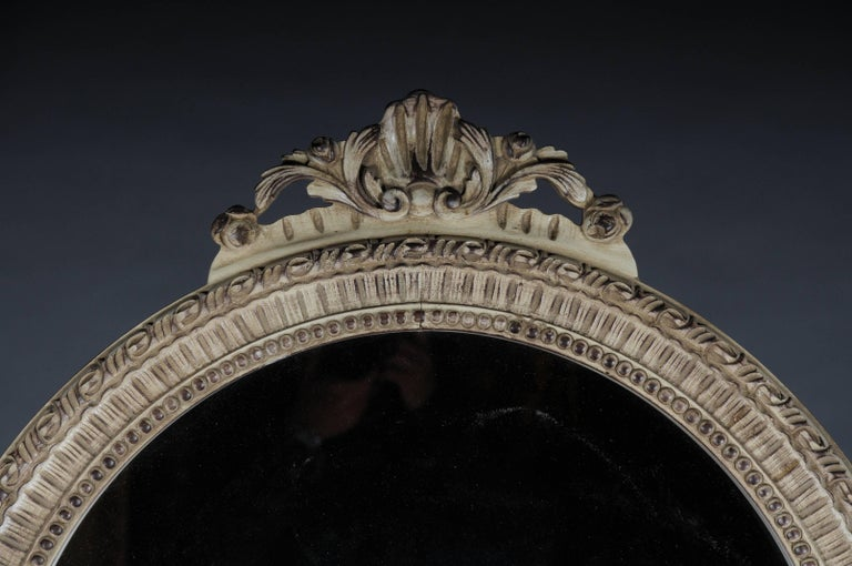 Solid beechwood, carved and painted. Semicircular high-rectangular body on conical, fluted legs. Cambered frame with surrounding carvings, inlaid marble top. High rectangular mirror frame with ornate carvings. Facetted mirror glass.   (M-Dom-44).
