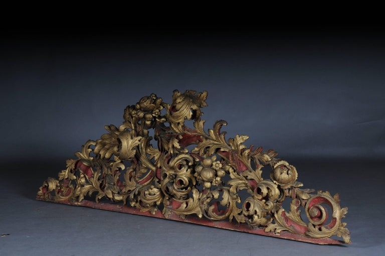 Hand-Carved Large Baroque Supraporte / Ornamental Element, Mid-18th Century For Sale