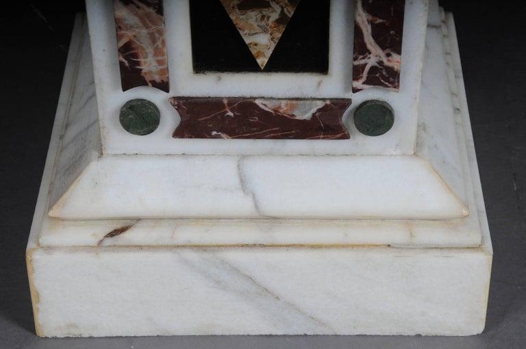 Pair of Monumental Marble Obelisks, White For Sale 1