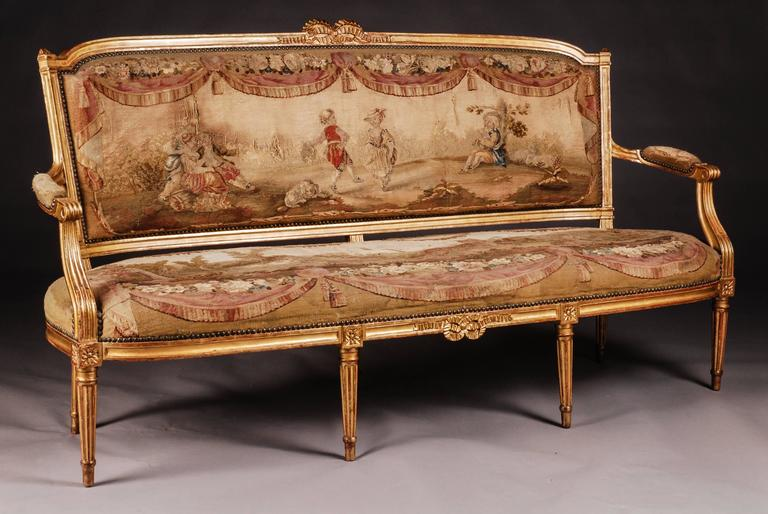 18th 19th Century Museale French Louis Xvi Salon Group For
