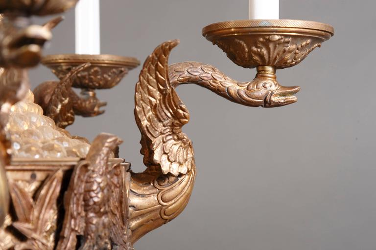 Bronze 20th Century Empire Style Splendid Chandelier or Candelabra For Sale
