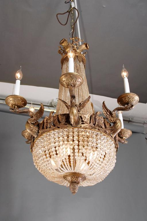 Patinated 20th Century Empire Style Splendid Chandelier or Candelabra For Sale
