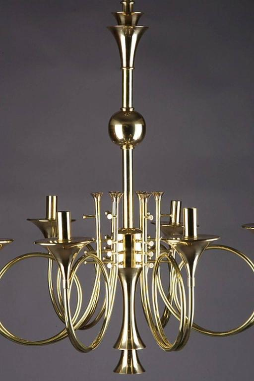 20th Century Six Hunting Horns Ceiling Candelabra For Sale
