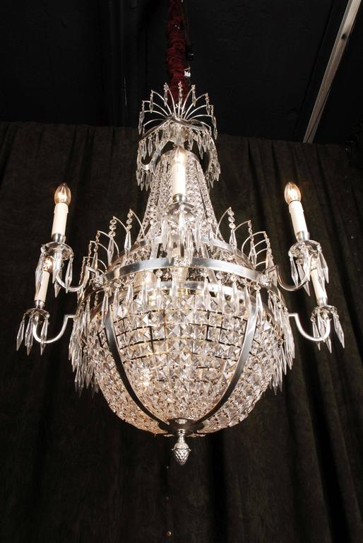Neoclassical 20th Century Classicist Style Swedish Empire Ceiling Candelabra Chandelier For Sale