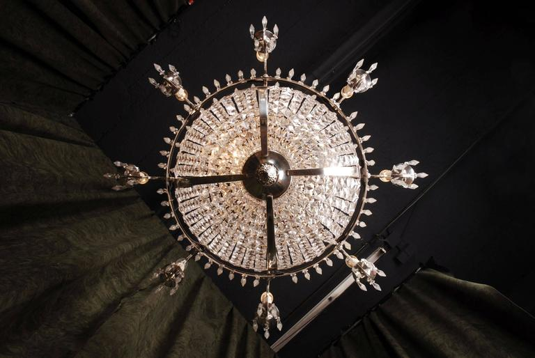 Silvered 20th Century Classicist Style Swedish Empire Ceiling Candelabra Chandelier For Sale