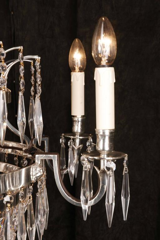 20th Century Classicist Style Swedish Empire Ceiling Candelabra Chandelier For Sale 2