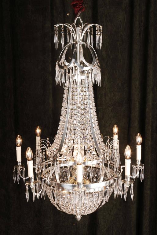 Swedish Empire ceiling candelabra in classicist style.