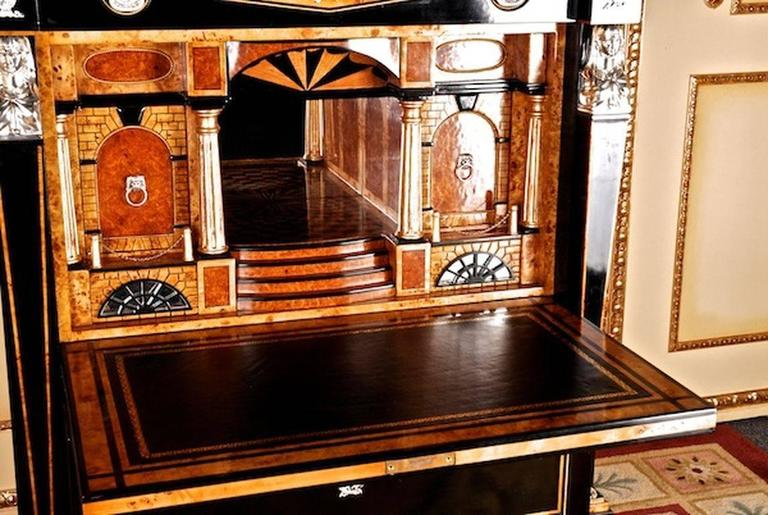 Bronze 20th Century Empire Style Courtly Lion Secretaire For Sale