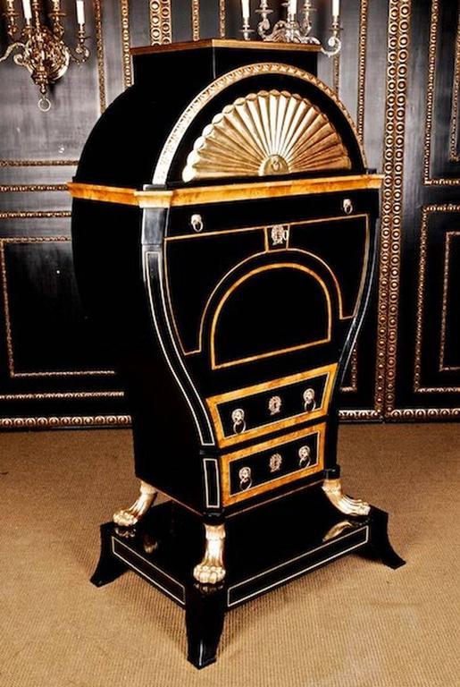 Veneer 20th Century Viennese Biedermeier Style Lyre Secretaire For Sale