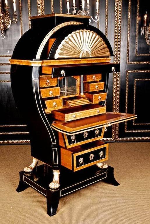 Bronze 20th Century Viennese Biedermeier Style Lyre Secretaire For Sale