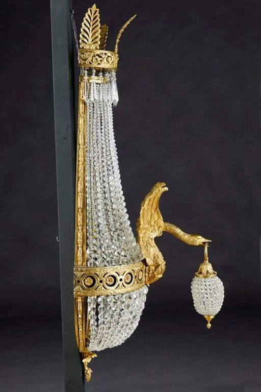 20th Century Empire Style Basket Applique or Wall Lamp In Good Condition For Sale In Berlin, DE