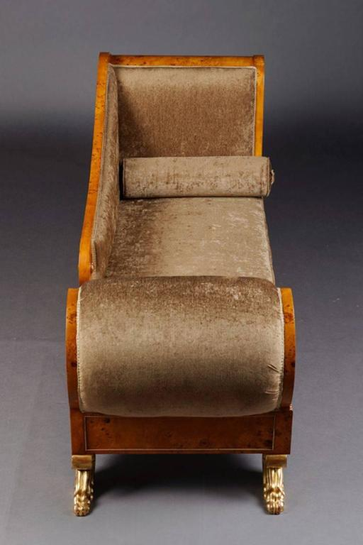Wood 20th Century Classizim Style Empire Swan Chaise Longue For Sale