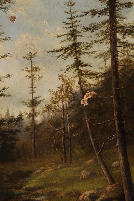 19th Century Biedermeier Oil Painting Forest Landscape 2