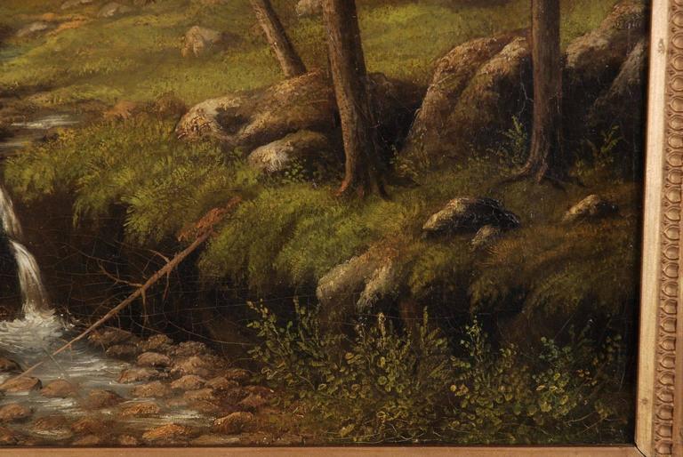19th Century Biedermeier Oil Painting Forest Landscape In Fair Condition In Berlin, DE