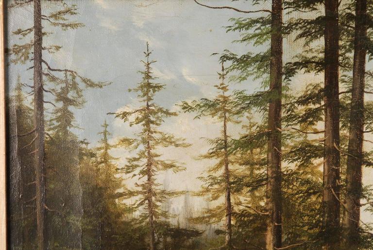 German 19th Century Biedermeier Oil Painting Forest Landscape