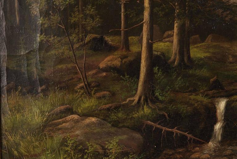 19th Century Biedermeier Oil Painting Forest Landscape 1