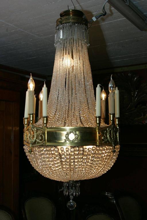 19th Century Empire Style French Basket Chandelier For