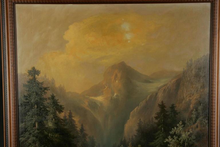 German 19th Century Historicism Style Oil on Canvas Alpine Landscape For Sale