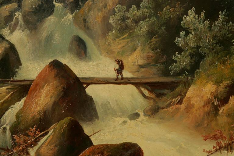 19th Century Historicism Style Oil on Canvas Alpine Landscape In Good Condition For Sale In Berlin, DE