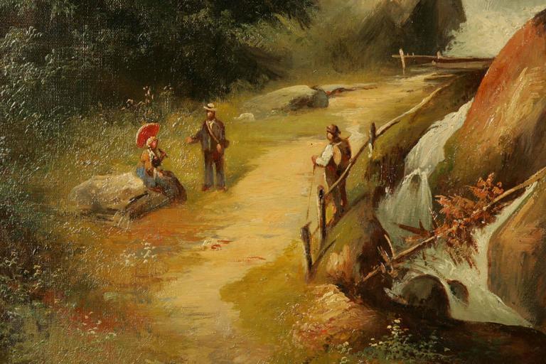 19th Century Historicism Style Oil on Canvas Alpine Landscape For Sale 2