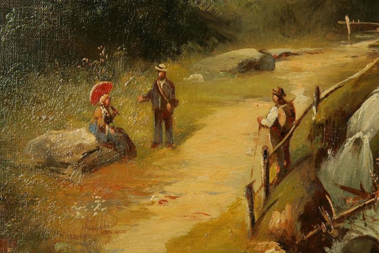 19th Century Historicism Style Oil on Canvas Alpine Landscape For Sale 1
