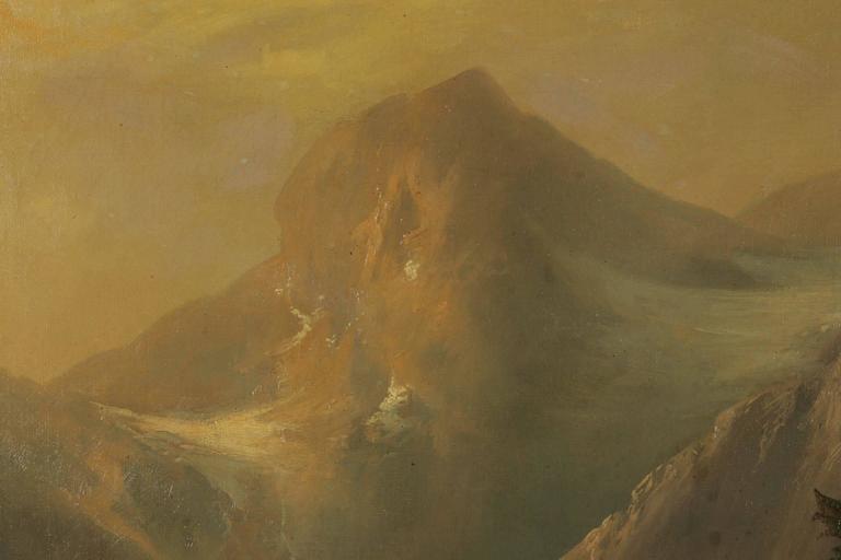 19th Century Historicism Style Oil on Canvas Alpine Landscape For Sale 3