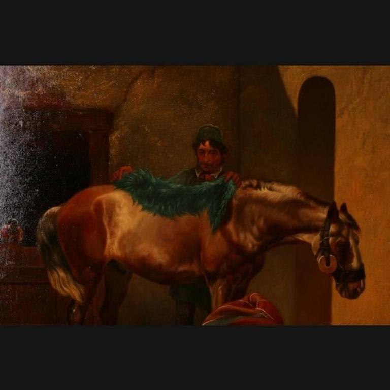 Original painting by E. Müllers in the middle of the 19th century. Saddled rider before the ride, next to him tonne with harp and two wooden pantries. Oil on canvas, signed on the reverse right E. Müllers. Remains of stickers with title and title
