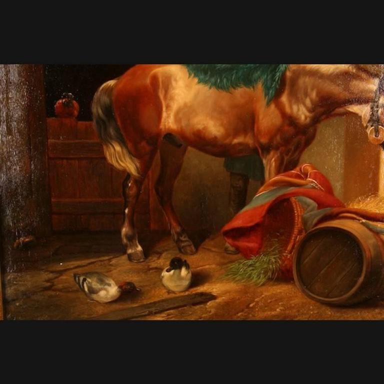 German 19th Century Historicism Style Oil on Canvas Painting by E. Muellers For Sale