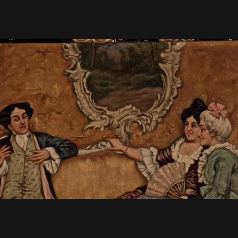 19th century rococo style painting oil on canvas for sale for Rococo period paintings
