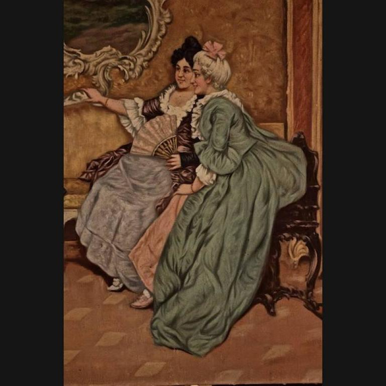 19th Century Rococo Style Painting Oil on Canvas For Sale 1
