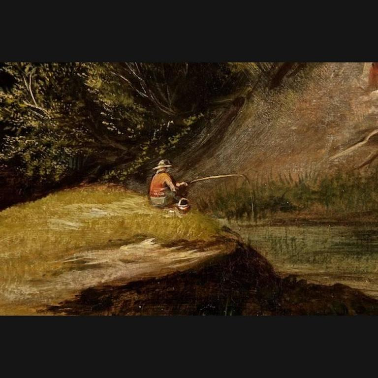 19th Century Painting Oil on Canvas Landscape For Sale 1