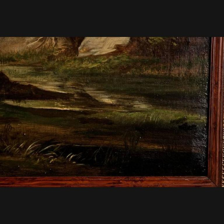 19th Century Painting Oil on Canvas Landscape For Sale 3