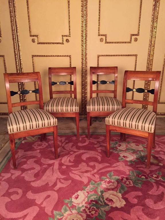 19th Century Set of Biedermeier Chairs Cherrywood 1830 For Sale 5