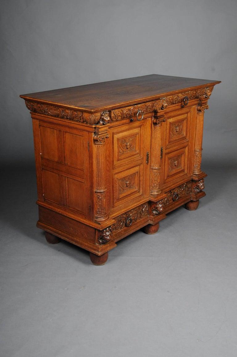 19th Century Neo Renaissance Console Buffet, Solid Oak For Sale 3