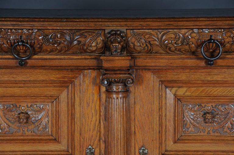 Renaissance Revival 19th Century Neo Renaissance Console Buffet, Solid Oak For Sale