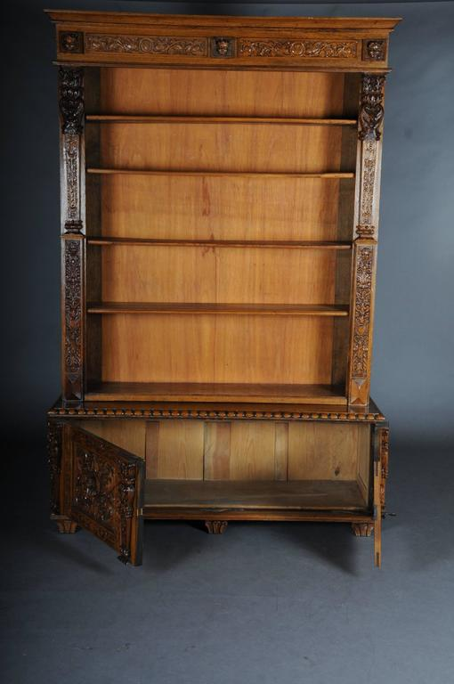 German 19th Century Neo Renaissance Bookshelf Solid Oak For Sale