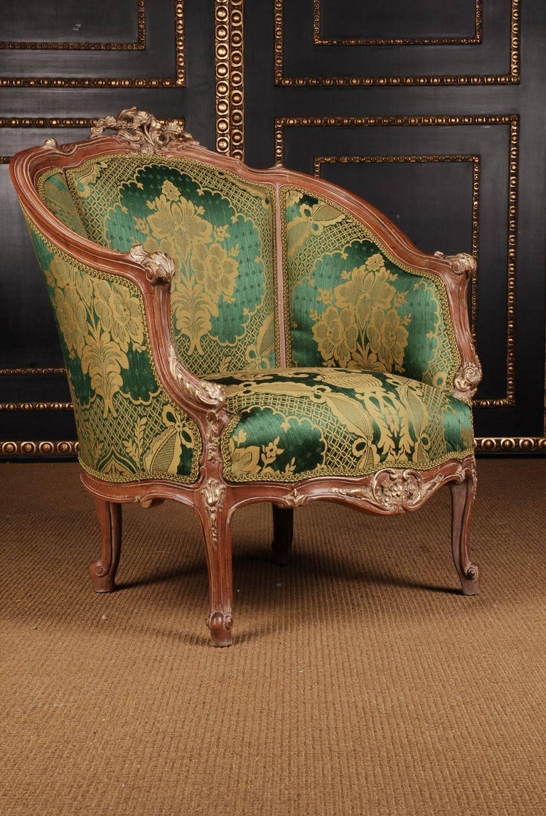 20th Century Louis Quinze Style French Curly-Leg Bergère For Sale 1