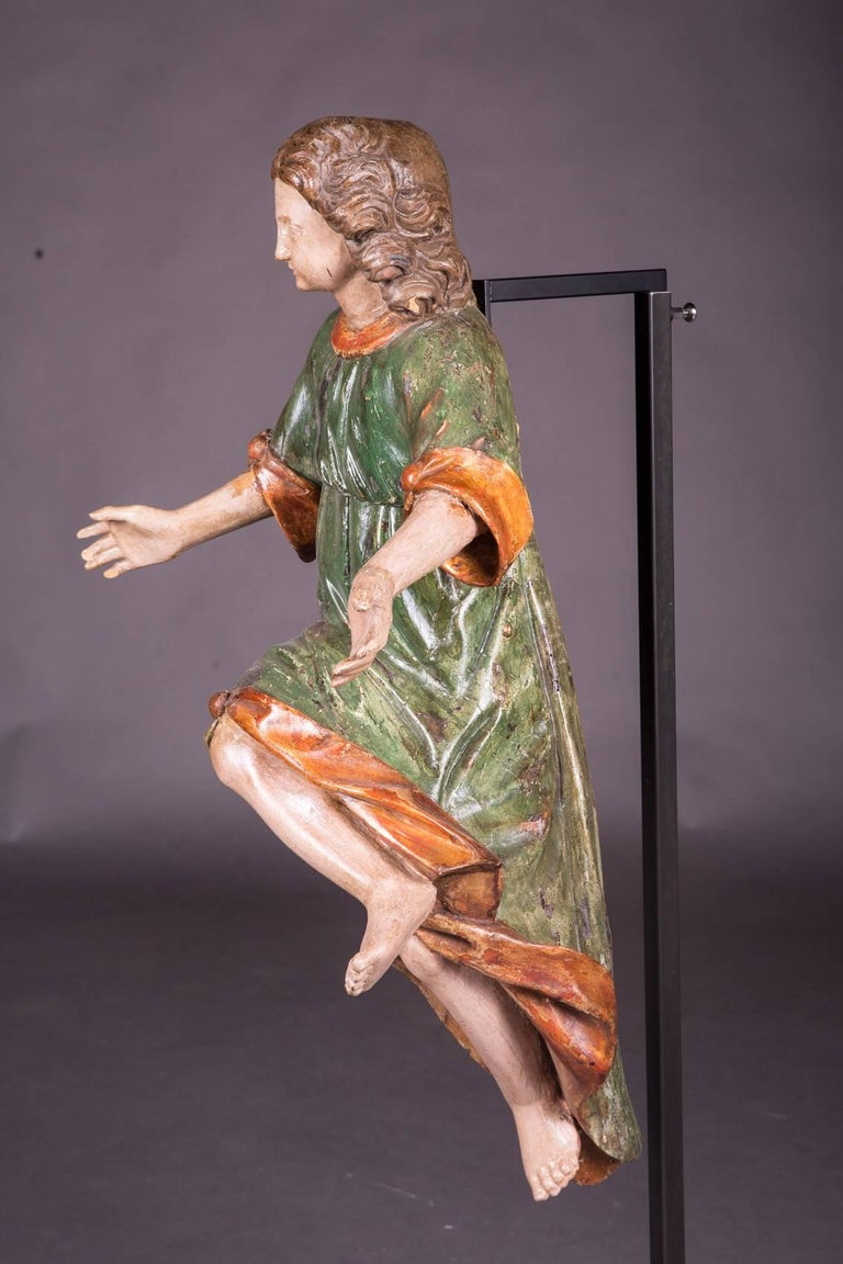 18th Century and Earlier 18th Century Baroque Oak Pair of Couple Baroque Figures For Sale