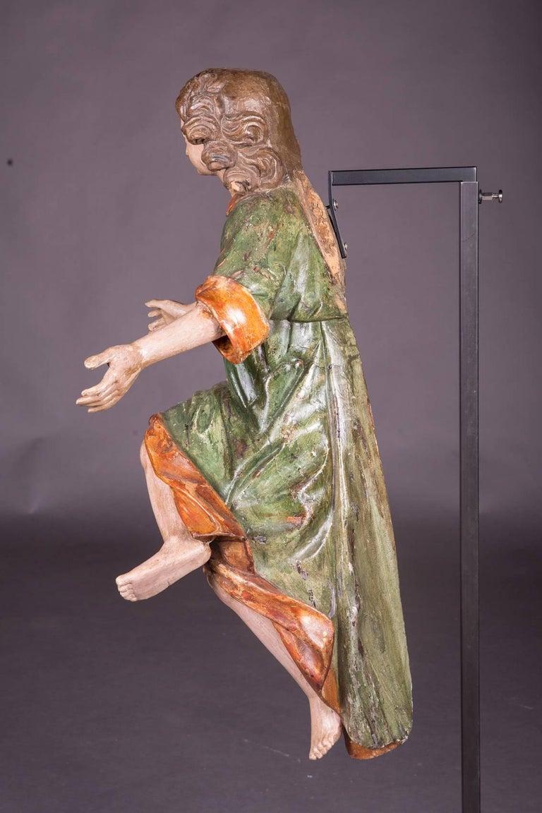18th Century Baroque Oak Pair of Couple Baroque Figures For Sale 1