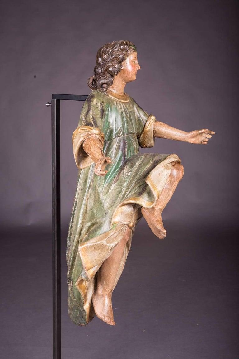 18th Century Baroque Oak Pair of Couple Baroque Figures For Sale 2