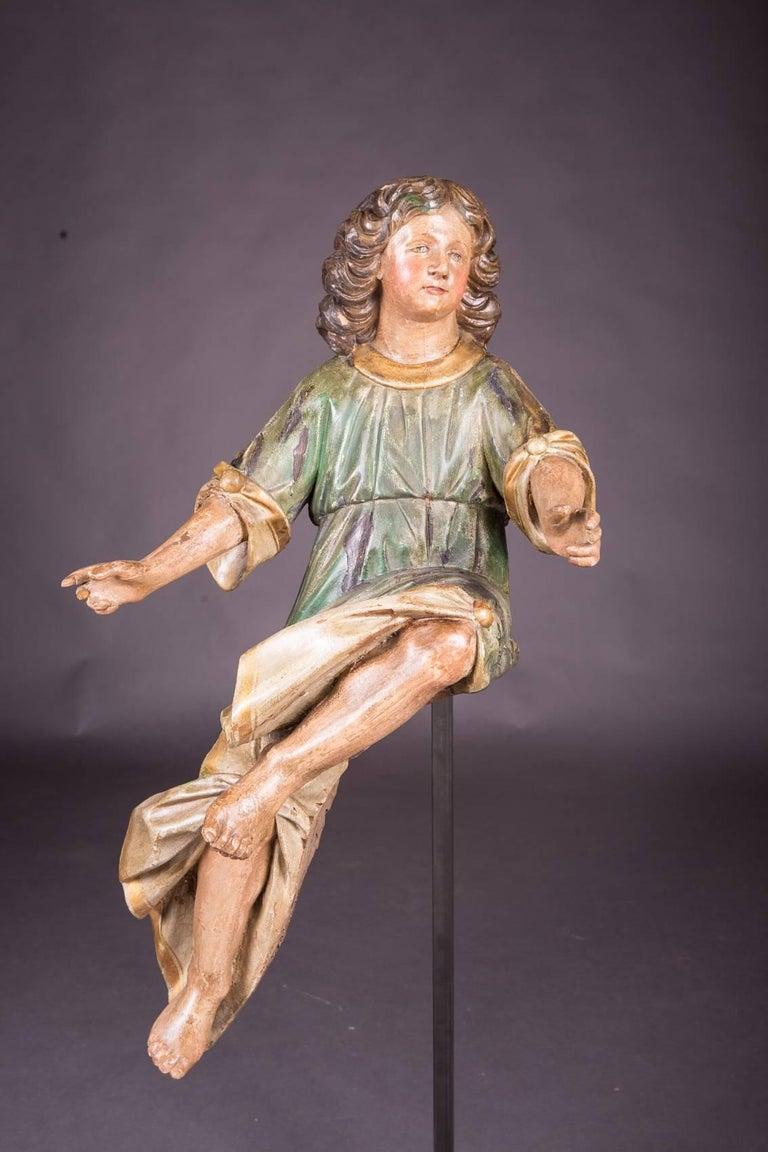 18th Century Baroque Oak Pair of Couple Baroque Figures For Sale 3