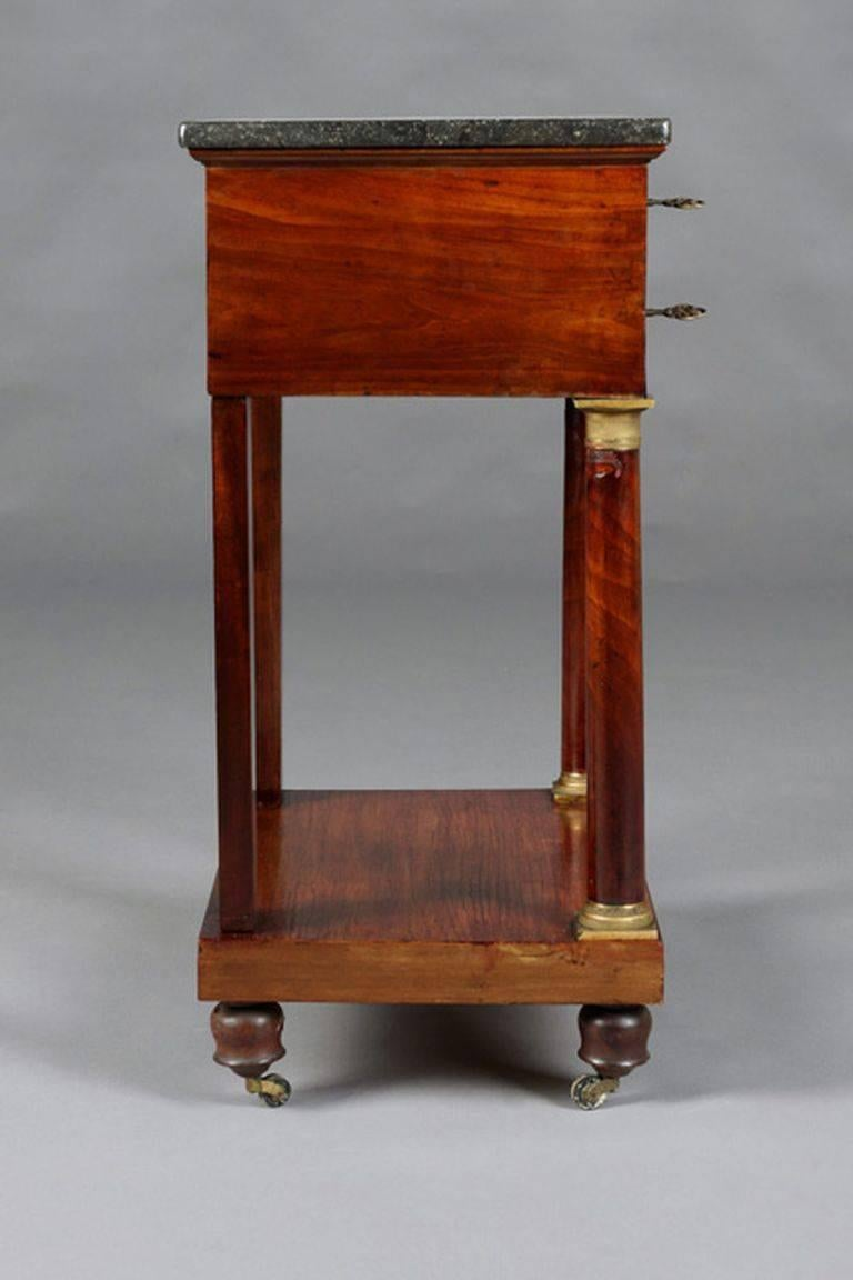 Gilt 19th Century Empire Commode, Nightstand or Sewing Table For Sale