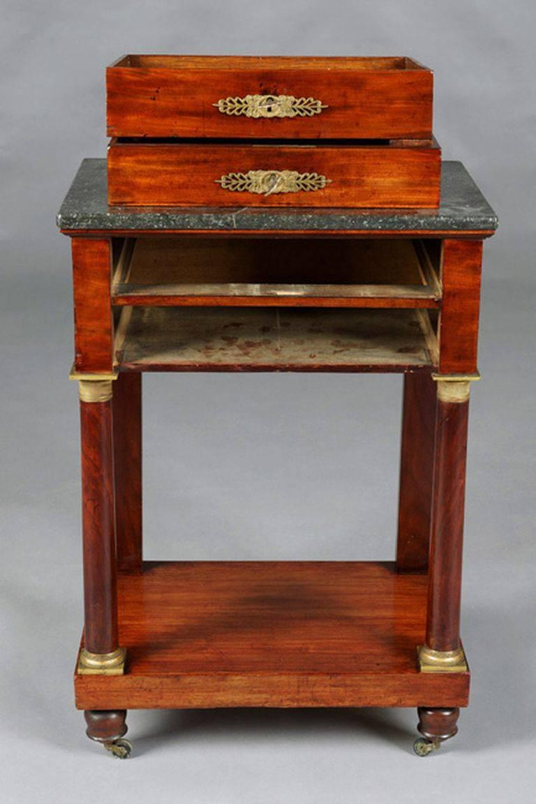 Bronze 19th Century Empire Commode, Nightstand or Sewing Table For Sale