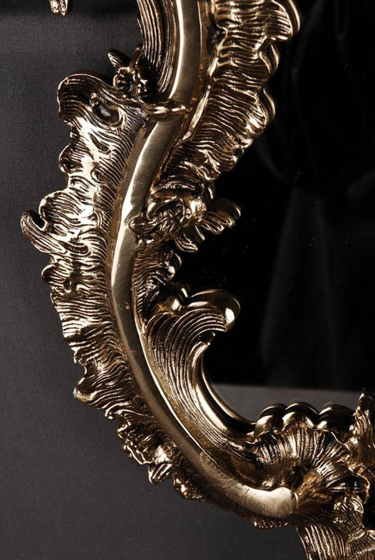 Bronze 20th Century Rococo Style Rocaille-Formed Wall Mirror For Sale