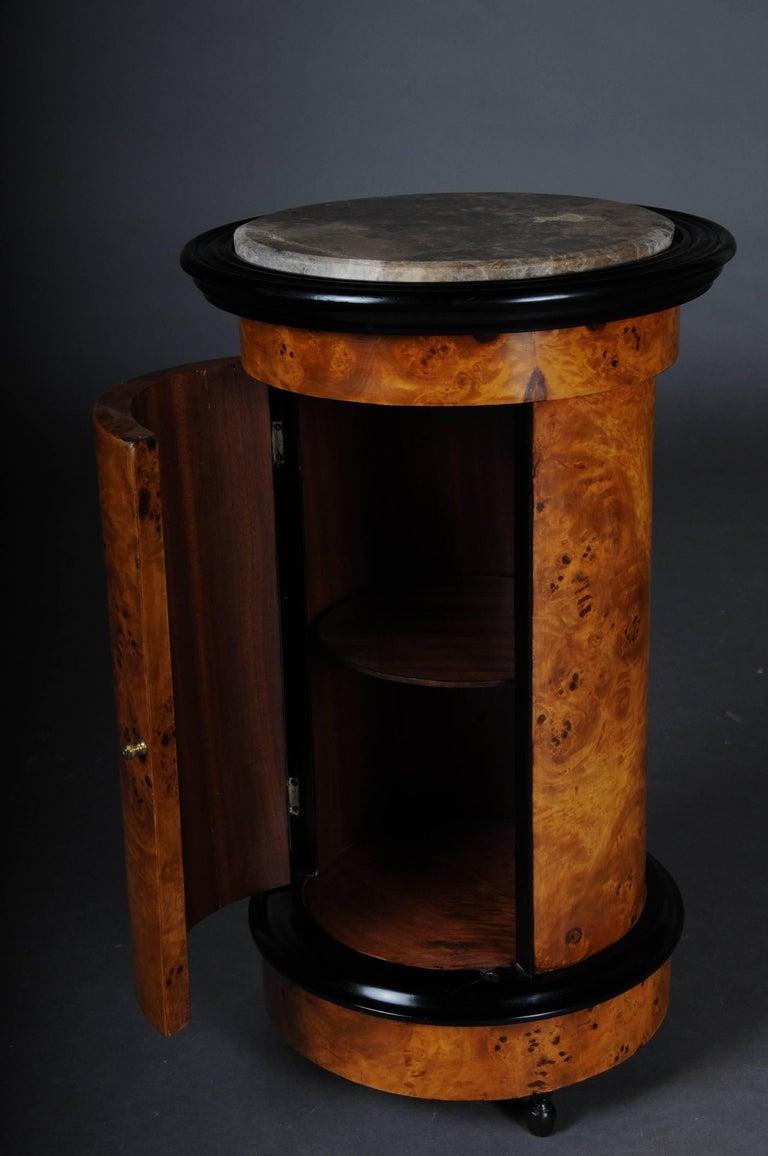 Tonneau, Bar Cabinet, Side Table in Biedermeier, Maple Root For Sale 1